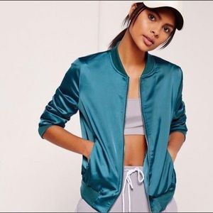 MISSGUIDED Teal Satin Bomber jacket - small
